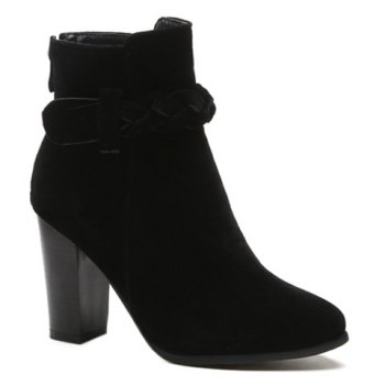 Chunky Heel Zipper Weave Ankle Boots