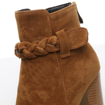 Chunky Heel Zipper Weave Ankle Boots - BROWN BROWN
