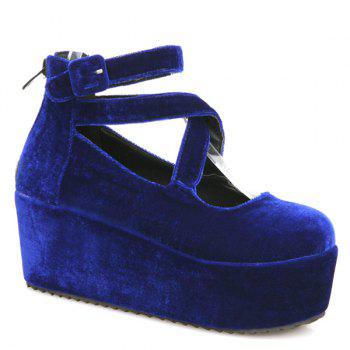Platform Zipper Cross Straps Wedge Shoes - BLUE 39