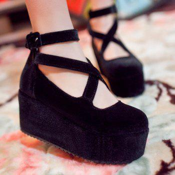 Platform Zipper Cross Straps Wedge Shoes - 39 39