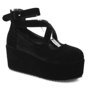 Platform Zipper Cross Straps Wedge Shoes - BLACK 39