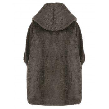 Fuzzy Hooded Coat, BROWN, ONE SIZE in Jackets & Coats | DressLily.com