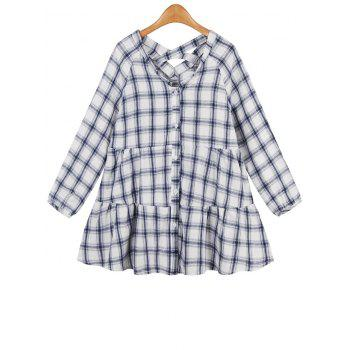 Checked Ruffles Loose Blouse