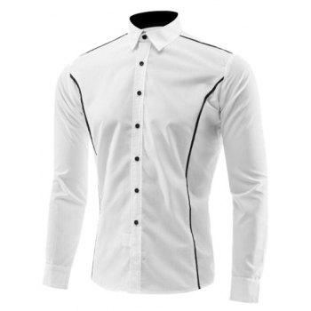 Edge Contrast Color Turn-Down Collar Long Sleeve Shirt - WHITE WHITE