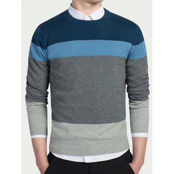 Long Sleeves Striped Crew Neck Knitwear - LIGHT BLUE LIGHT BLUE