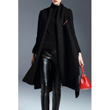 Shawl Collar Wool Blend Swing Coat