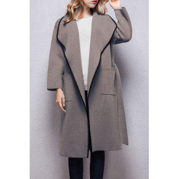 Wool Wrap Coat with Pockets