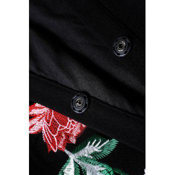 Embroidered Swing Coat - BLACK XL