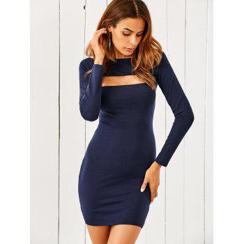 Slash Neck Long Sleeve Cut Out Bodycon Dress