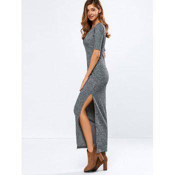 Scoop Neck Elbow Sleeve Ribbed Maxi Dress