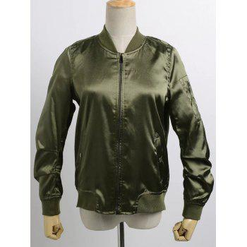 Stand Neck Satin Thin Bomber Jacket