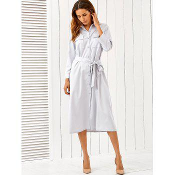 Long Sleeve Self Tie Midi Formal Shirt Dress