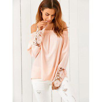 Off The Shoulder Lace Spliced Loose Blouse - NUDE PINK NUDE PINK