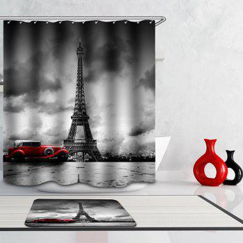 waterproof eiffel tower floral polyester shower curtain colormix