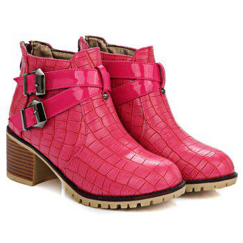 Double Buckle Embossed Plaid Pattern Ankle Boots - LIGHT RED LIGHT RED