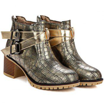Double Buckle Embossed Plaid Pattern Ankle Boots - GOLDEN GOLDEN
