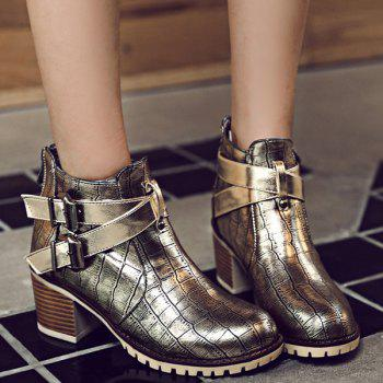 Double Buckle Embossed Plaid Pattern Ankle Boots - GOLDEN 40