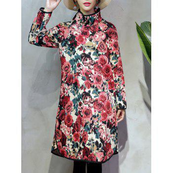 Thick Chinese Style Rose Shift Dress - RED RED