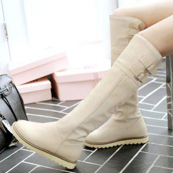 Buckle Faux Leather Knee High Boots - OFF WHITE OFF WHITE