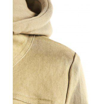 Trendy Hooded Long Sleeve Pocket Design Faux Twinset Women's Jacket - BEIGE M