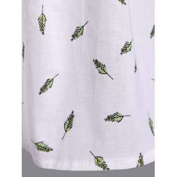 Refreshing V-Neck Short Sleeve Leaf Print Plus Size Women's Blouse - WHITE XL