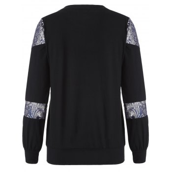 Loose Embroidered Lace Spliced Tee - BLACK L