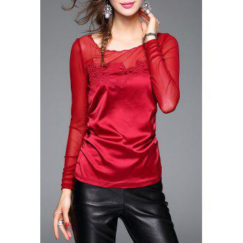 Long Sleeve See Through Top - DEEP RED L