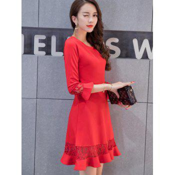 Lace Spliced Bell Sleeves Flare Dress - RED L