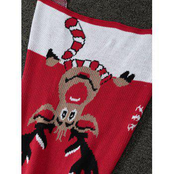 High Quality Christmas Elk Pattern Knitted Mermaid Tail Blanket - RED