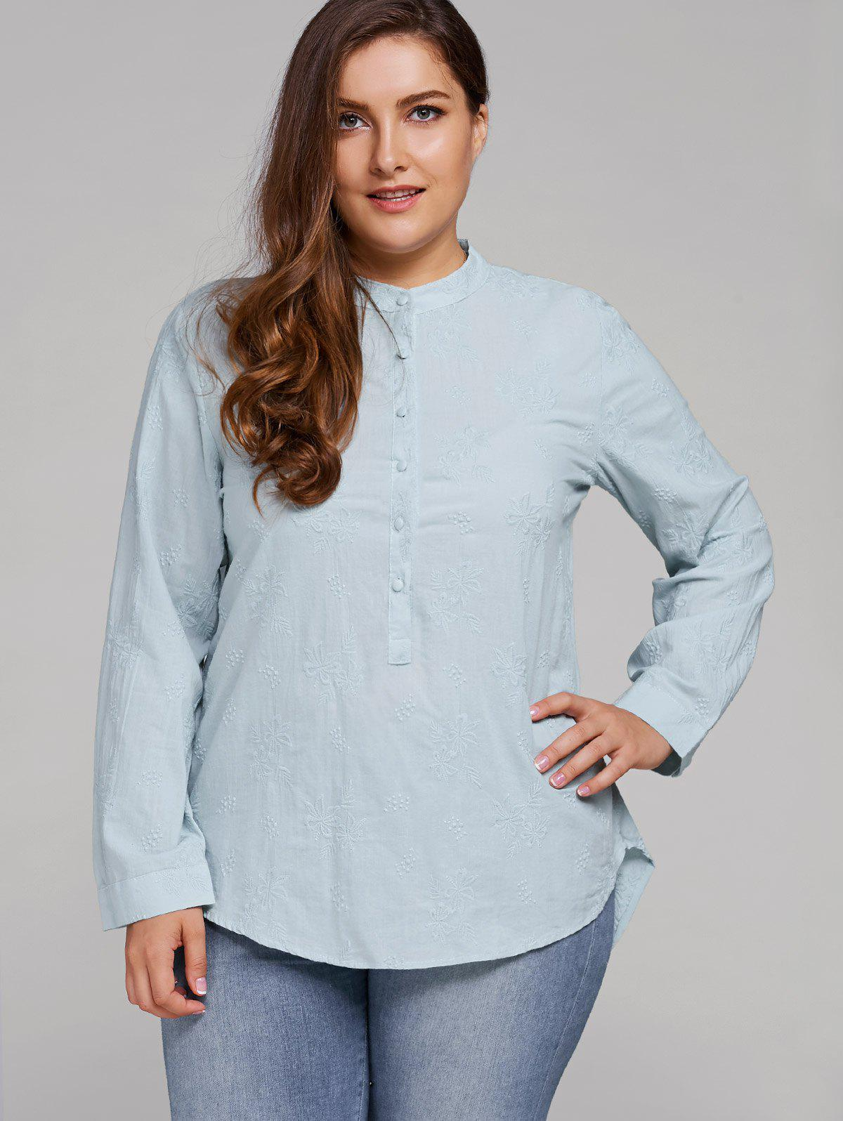 Plus Size Long Sleeve Floral Embroidered Shirt, Light blue