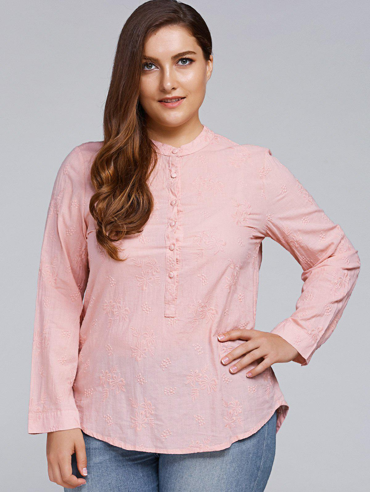 Plus Size Long Sleeve Floral Embroidered Shirt, Light pink