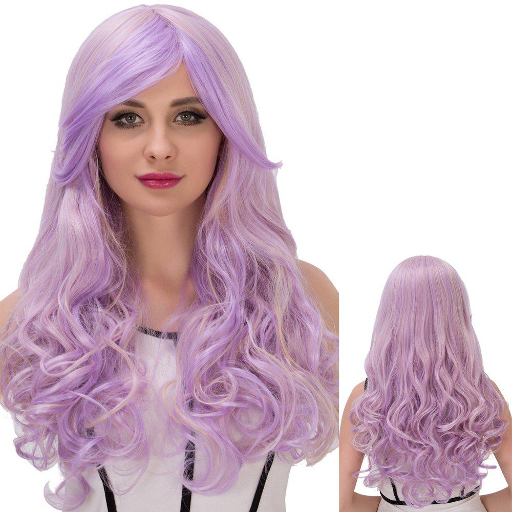 Cosplay Synthetic Long Fluffy Purple Gradient Side Bang Wavy Wig