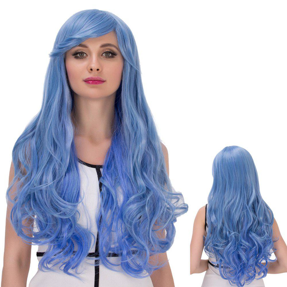 Faddish Cosplay Synthetic Long Side Bang Wavy Wig - BLUE