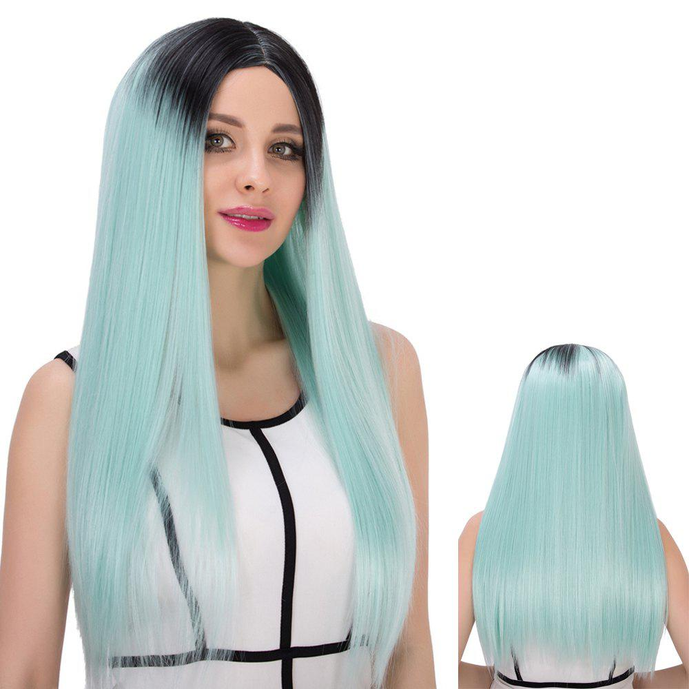 Double Color Long Centre Parting Straight Cosplay Synthetic Wig centre speaker