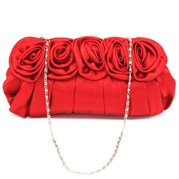 Pleated Flowers Satin Evening Bag - RED