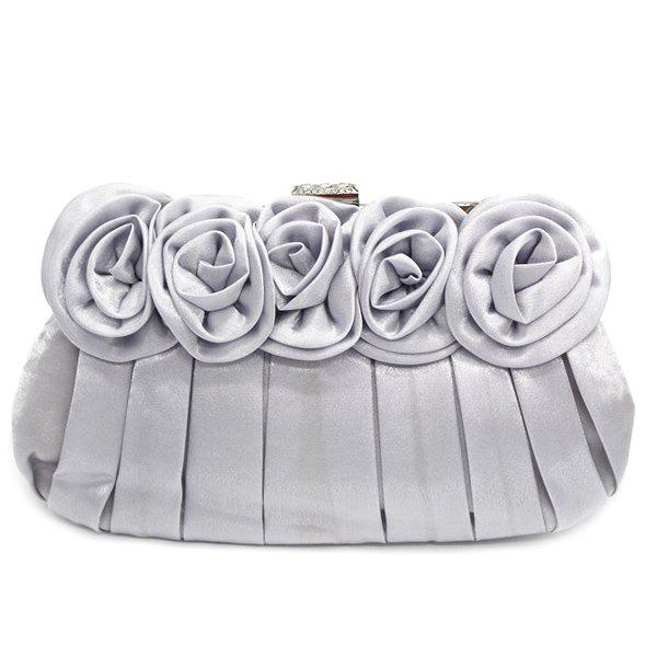 Pleated Flowers Satin Evening Bag - SILVER