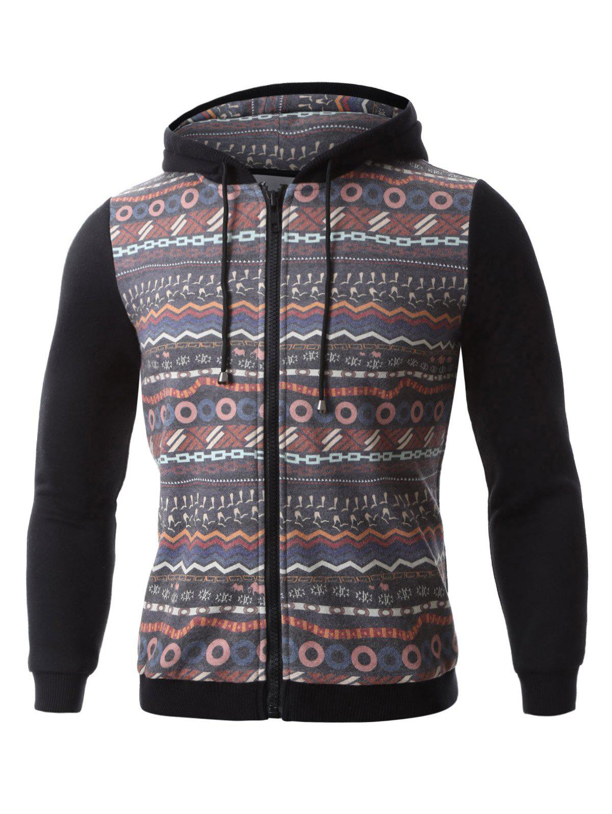 Hooded Colorful Geometric Print Zip-Up Hoodie - BLACK M