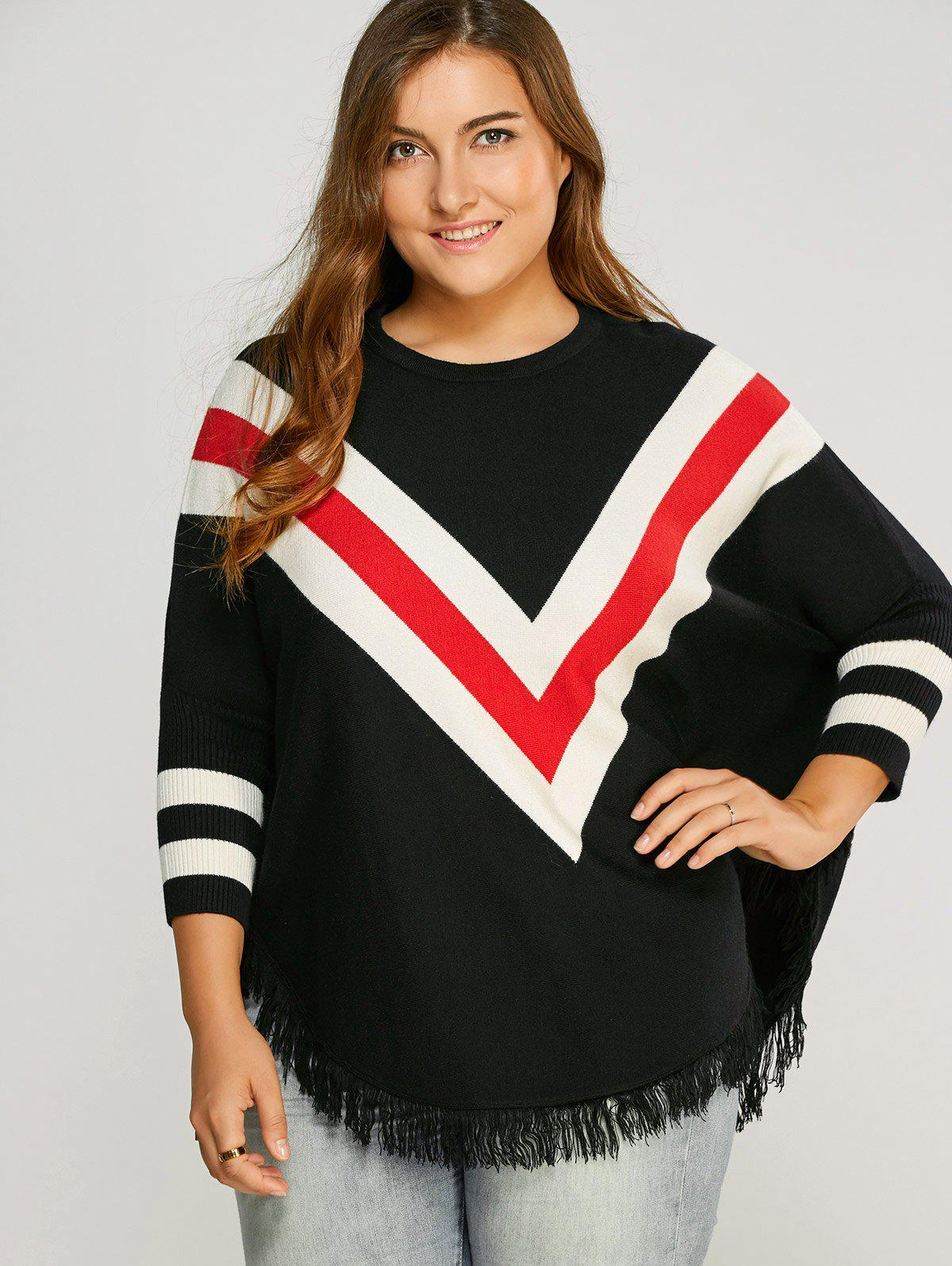 Plus Size Zig Zag Fringed TopWomen<br><br><br>Size: ONE SIZE<br>Color: BLACK