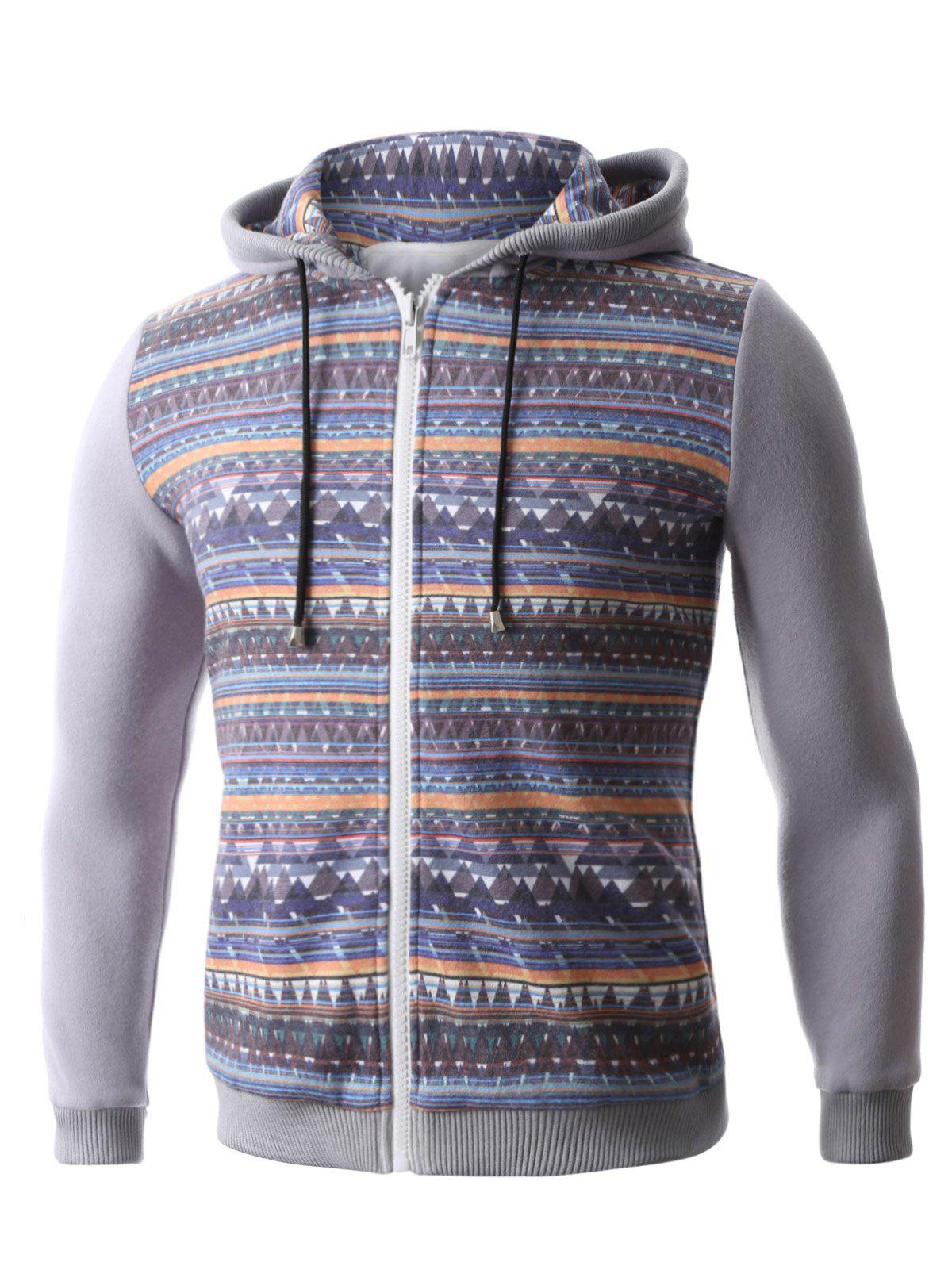 Hooded Colorful Geometric Print Zip-Up Hoodie - GRAY S