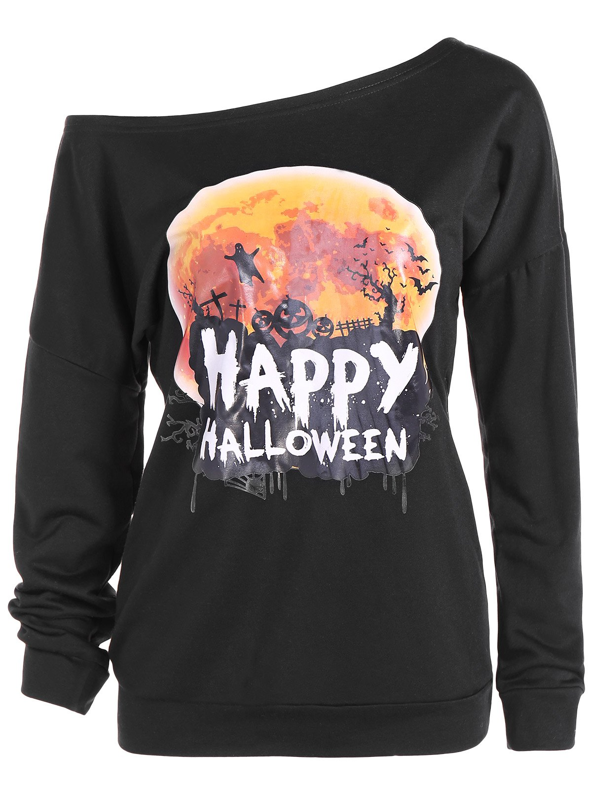 Halloween Skew Neck Sweatshirt - BLACK S
