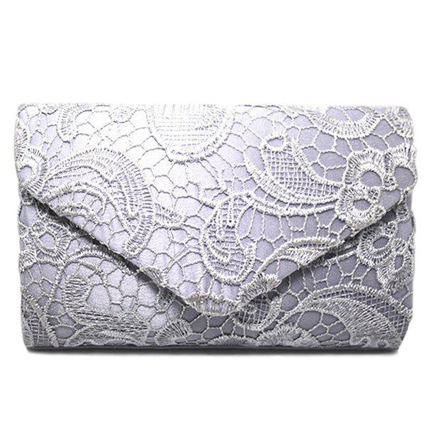 Lace Envelope Evening Clutch - Argent