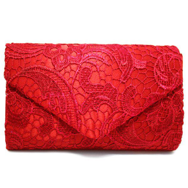 Lace Envelope Evening Clutch - Rouge