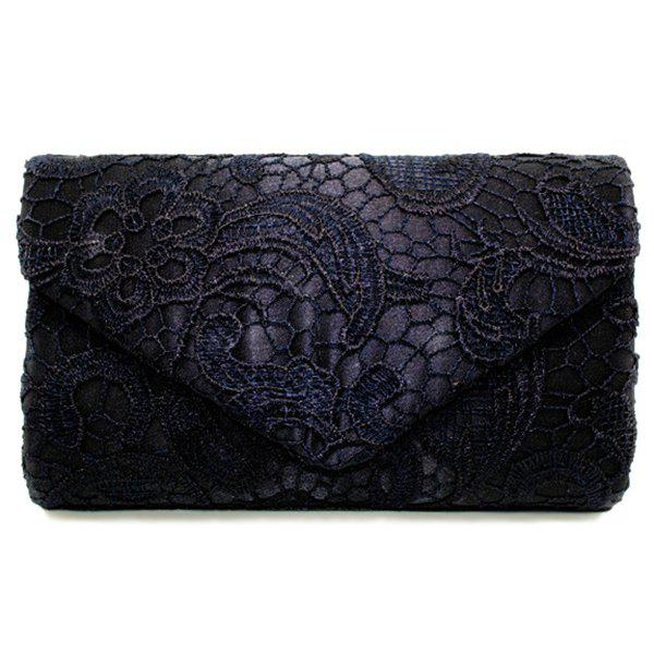 Lace Envelope Evening Clutch - Noir