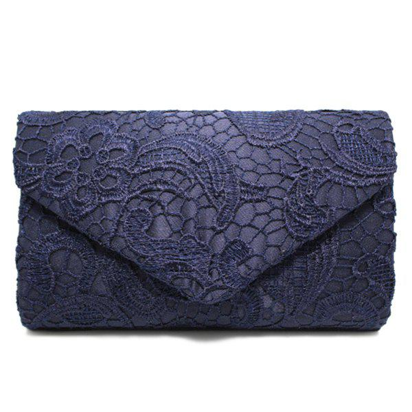 Lace Envelope Evening Clutch - Bleu Foncé
