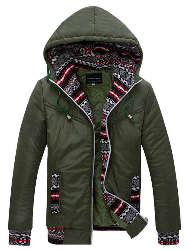 Ethnic Style Print Splicing Hooded Zip-Up Cotton-Padded Jacket