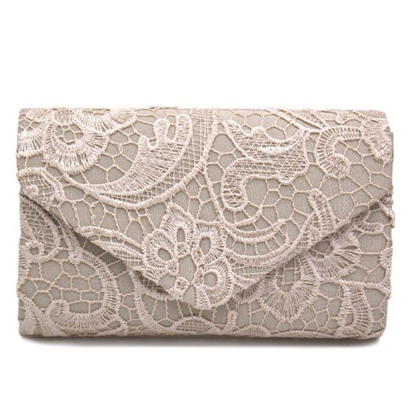Lace Envelope Evening Clutch - Abricot