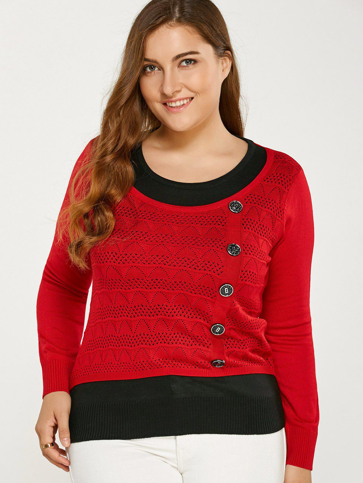 Color Block Buttoned Plus Size SweaterWomen<br><br><br>Size: ONE SIZE<br>Color: RED