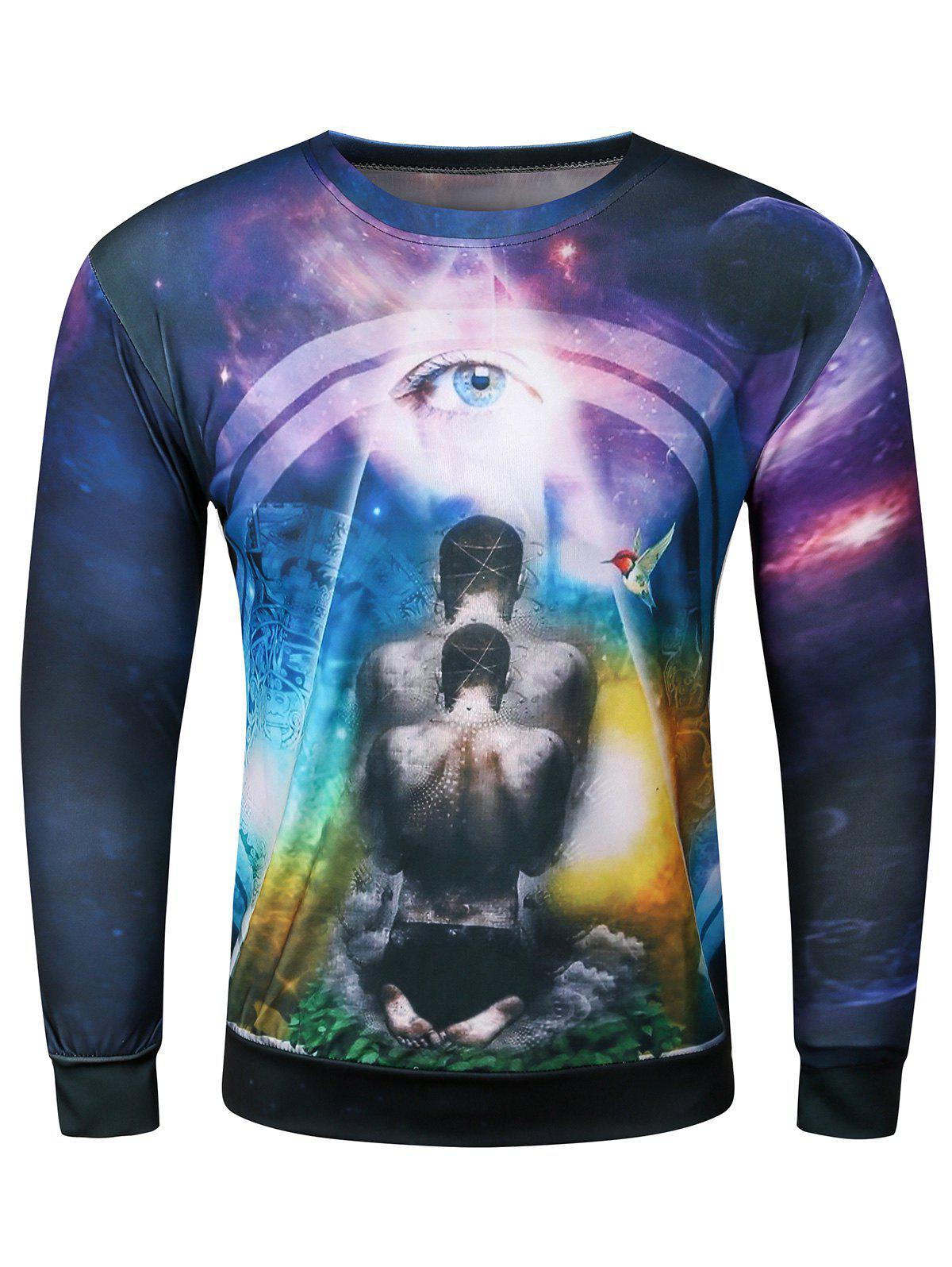 3D Starry Sky Bird Devil Eye Printed Long Sleeve SweatshirtMen<br><br><br>Size: M<br>Color: COLORMIX