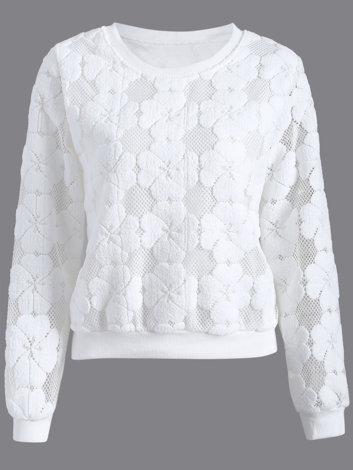 Flocked Mesh Pullover Sweatshirt - WHITE L