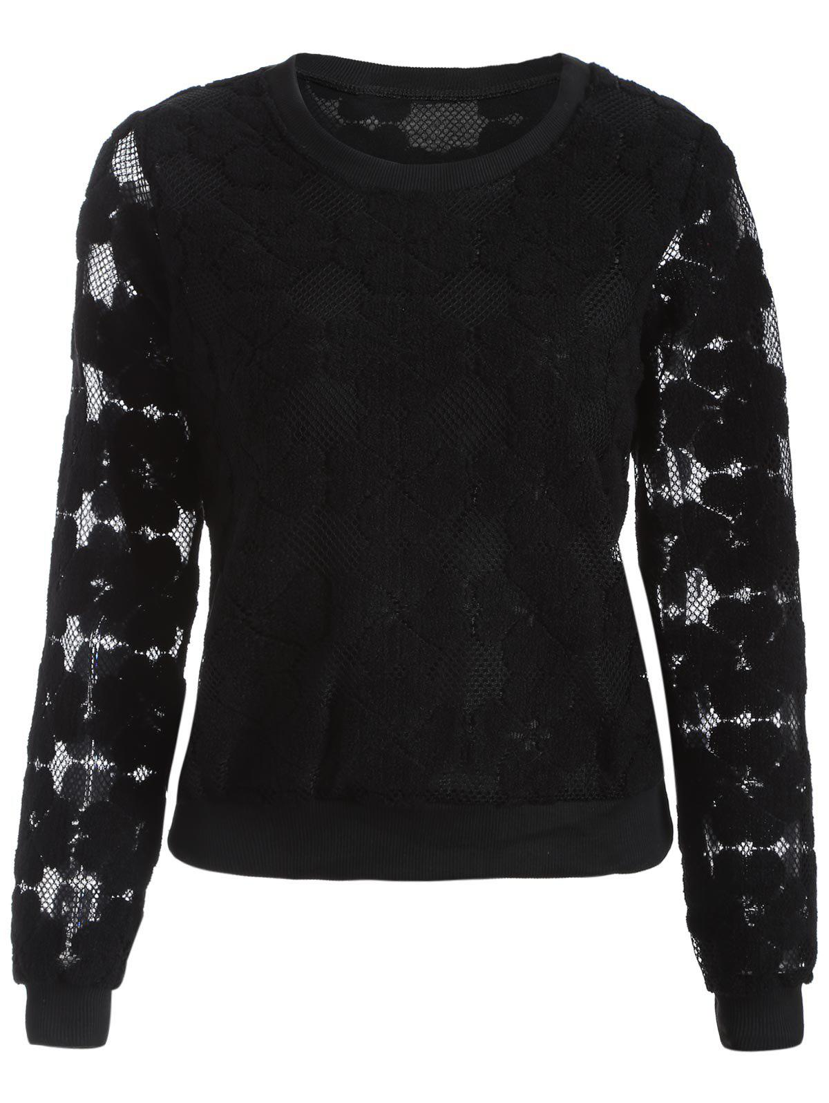 Flocked Mesh Pullover Sweatshirt - BLACK XL